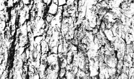 Tree bark halftone texture overlay. Vintage natural wood vector background with cracks