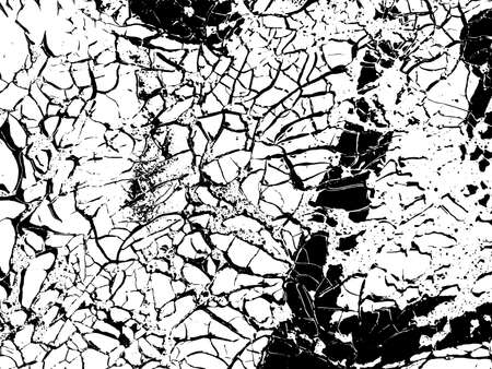 Cracks vector texture overlay. Monochrome abstract vintage background.