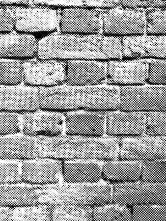 Brick wall halftone vector texture overlay. Vintage textured surface with old brickwork
