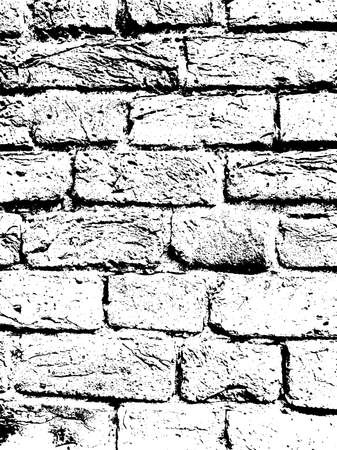 Brick wall vector texture overlay. Vintage textured surface with old brickwork