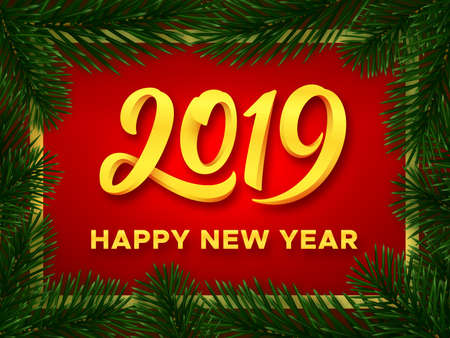 Happy New Year 2019 gold typography text on red vector background with green realistic christmas tree branches. Greeting card design template with 3D style number