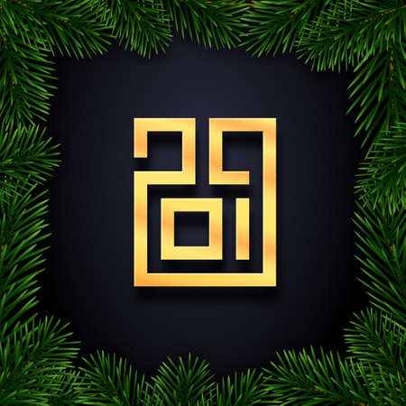 Happy New Year card. Gold typographic number 2019 and border with christmas tree branches on luxury black background. Premium vector illustration with lettering for winter holidays