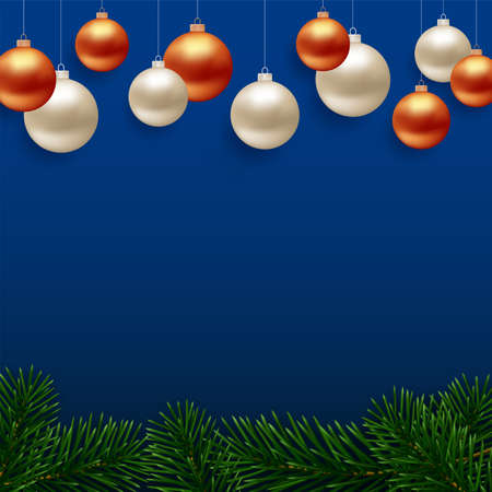 Christmas background with realistic fir tree branches border and gold color hanging balls on blue vector background. Greeting card or holiday banner design Ilustrace