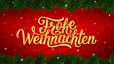 Frohe Weihnachten german Merry Christmas gold calligraphy text in golden frame and border of fir tree branches on red background. Vector greeting card design