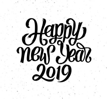Greeting card design vector template with chinese calligraphy for 2019 Happy New Year of the Pig. Hand drawn lettering on vintage grunge background