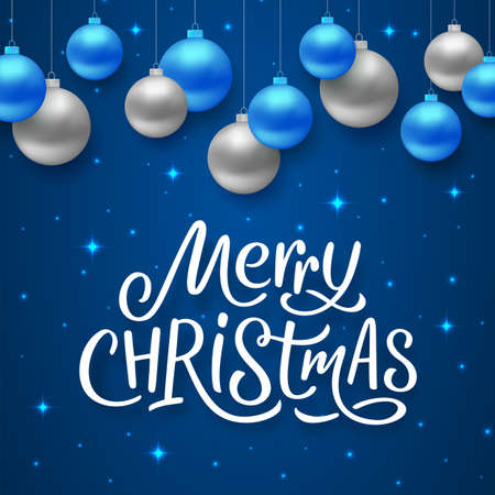 Merry Christmas seasons greetings text on blue background with sparkles and colorful hanging balls. Vector illustration for holidays with lettering