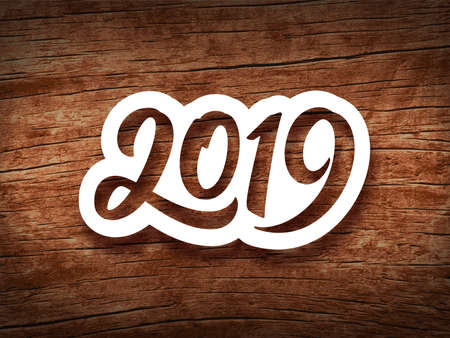 Happy New Year 2019. Paper 3D calligraphic number on vintage wood background. Vector greeting card design template for winter holidays
