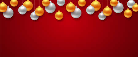 New year 2019 banner with border of gold and silver color Christmas balls and copyspace for text on red background. Vector illustration
