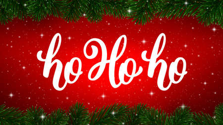 Ho-Ho-Ho calligraphy text on red shiny background with border of Christmas tree branches. Vector greeting card design Ilustrace
