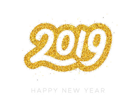 Happy New Year 2019 greeting card design template with golden text isolated on white background. Calligraphy for chinese year of the pig. Vector illustration Ilustrace