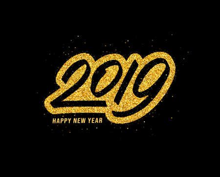 Happy New Year 2019 greeting card design with gold typography on black background with glitters. Calligraphy for chinese year of the pig. Vector illustration
