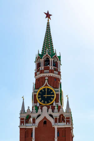 Spasskaya tower of Moscow Kremlin on the Red Square. Tourist destination Russia