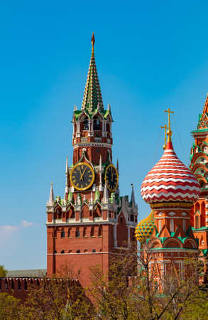 St Basil Cathedral and Spasskaya tower of Moscow Kremlin on the Red Square in sunny day . Tourist destination Russia Reklamní fotografie