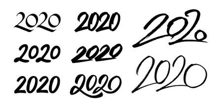 Happy New Year 2020. Set of calligraphy numbers for Chinese Year of the Rat. Vector illustration.