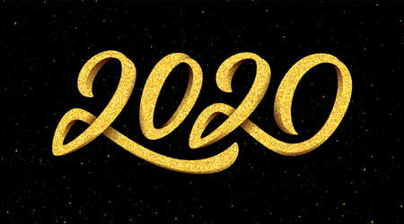 Happy New Year 2020 greeting card design with gold 3D typography on black background with glitters. Calligraphy for Chinese Year of the Rat. Vector illustration Illustration