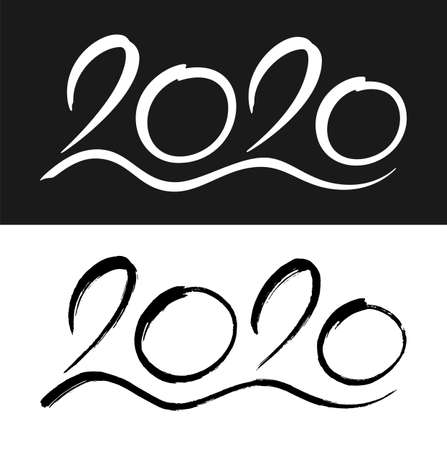 New Year 2020 lettering design. Calligraphy with smooth and hand drawn numbers isolated on black and white backgrounds. Vector illustration.