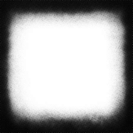 Vintage black and white noise texture. Abstract splattered square shape background for vignette. Vector halftone texture overlay Stock Illustratie
