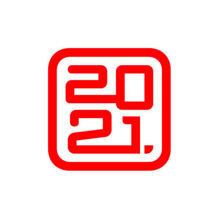 Happy New Year 2021. Lettering for Chinese Year of the Ox. Vector square icon 2021 isolated on white background
