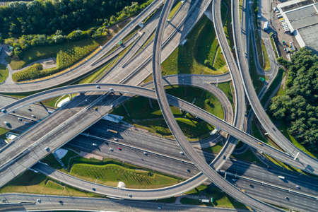 Complex junction and cars traffic. Aerial vertical shot. Stock fotó