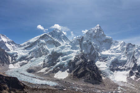 Mt Everest, Nuptse and Khumbu glacier. Blue sky. Panoramic view. Himalayan mountains, Nepal.