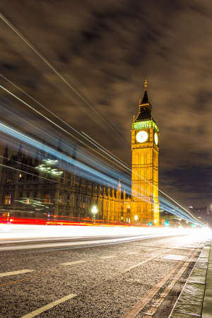 Big Ben and traces of cars on westminster bridge at night
