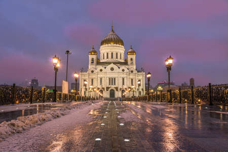 Cathedral of Christ the Savior in winter at dawn. Moscow, Russia