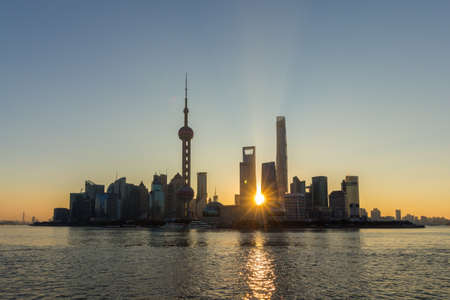 Panoramic Shanghai Skyline at Sunrise. Lujiazui Financial District and Huangpu River. View from The Bund Embankment. China. Stock fotó