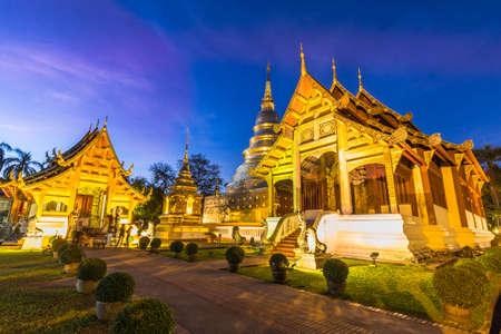Wat Phra Singh temple with illumination at night. Chiang Mai, Thailand. Stock fotó
