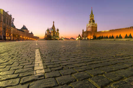 Red square, Moscow Kremlin, Saint Basil Cathedral and GUM trading house at dawn. Moscow Russia.