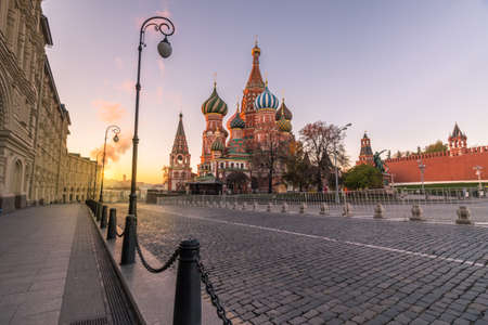 Saint Basils Cathedral in Red Square at sunrise. Moscow, Russia.