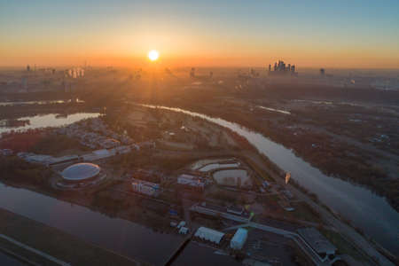 Moscow Cityscape at Sunrise in Morning Haze. Aerial View. Russia