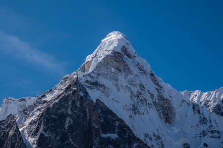 Ama Dablam Mountain, Himalaya. Nepal. Blue Sky