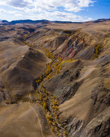 Red Hills of Clay, Mountains, and Larches in Autumn. Aerial View. Mars. The Altai Mountains, Russia.