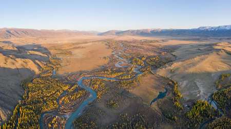 Kurai Steppe, Chuya River, Yellow Larches and Mountains at Sunset in Autumn. Aerial View. Altai Mountains, Russia. Archivio Fotografico