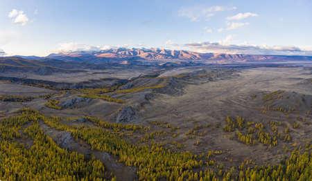 Kurai Steppe and Kurai Ridge. Altai Mountains, Russia.