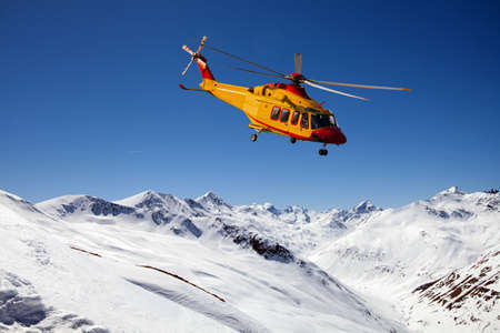 helicopter in the high mountains Stockfoto