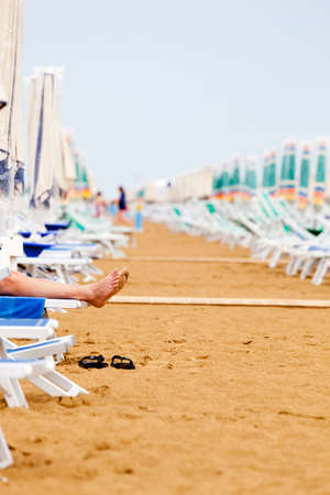 relax on the beach in the morning Stock Photo