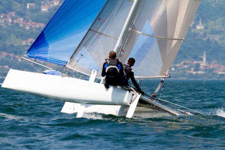 catamaran in regatta on Como Lake Stock fotó