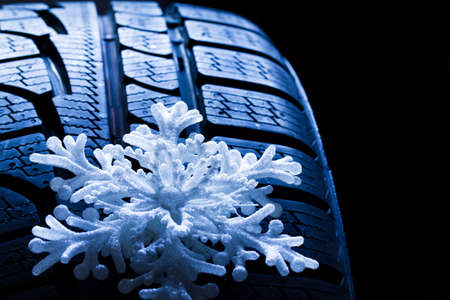 sneeuwgom met ijskristal Stockfoto