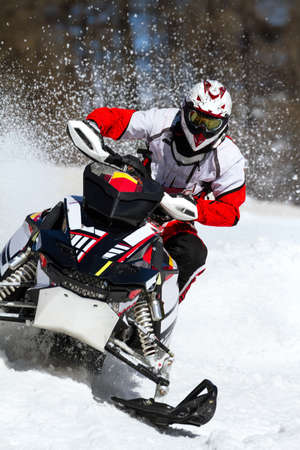 soaring in the snowmobile race