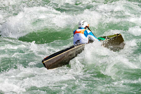 kayak race in the rapids