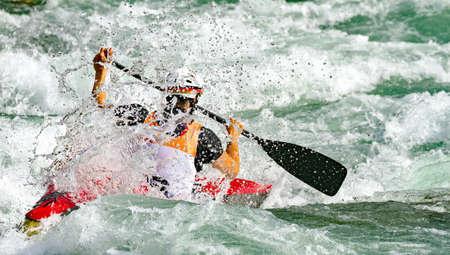 kayak race in the rapids