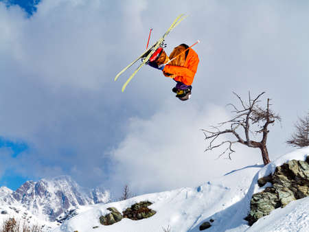 pirouette with skis in the mountain