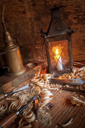 ancient wood workshop - close up Stock fotó