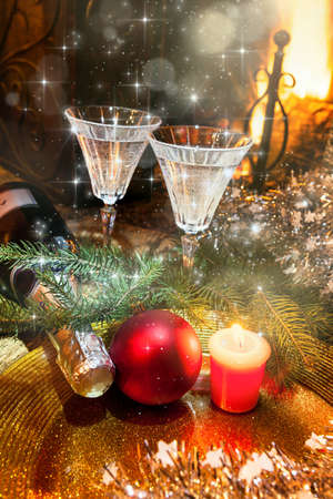 champagne for Christmas toast - still life
