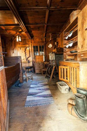 ancient interior of the Valtellina chalet (IT)