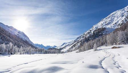 Engadine - Switzerland - Panoramic winter view of the Roseg Valley Stock Photo