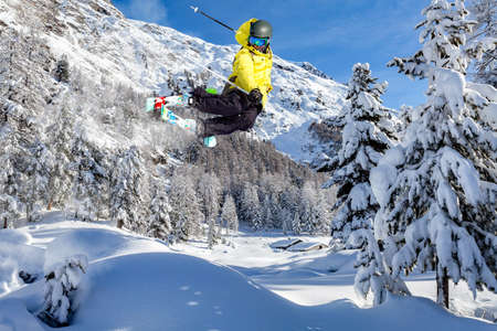 jump with ski in fresh snow