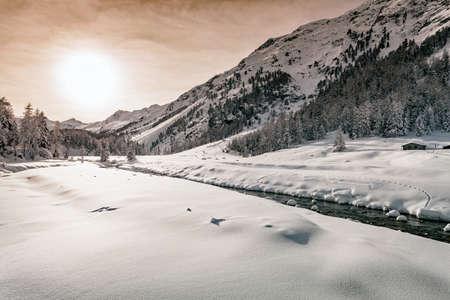 panoramic of Roseg Valley - Engadine - Switzerland
