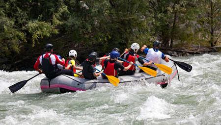 rafting team in the rapids